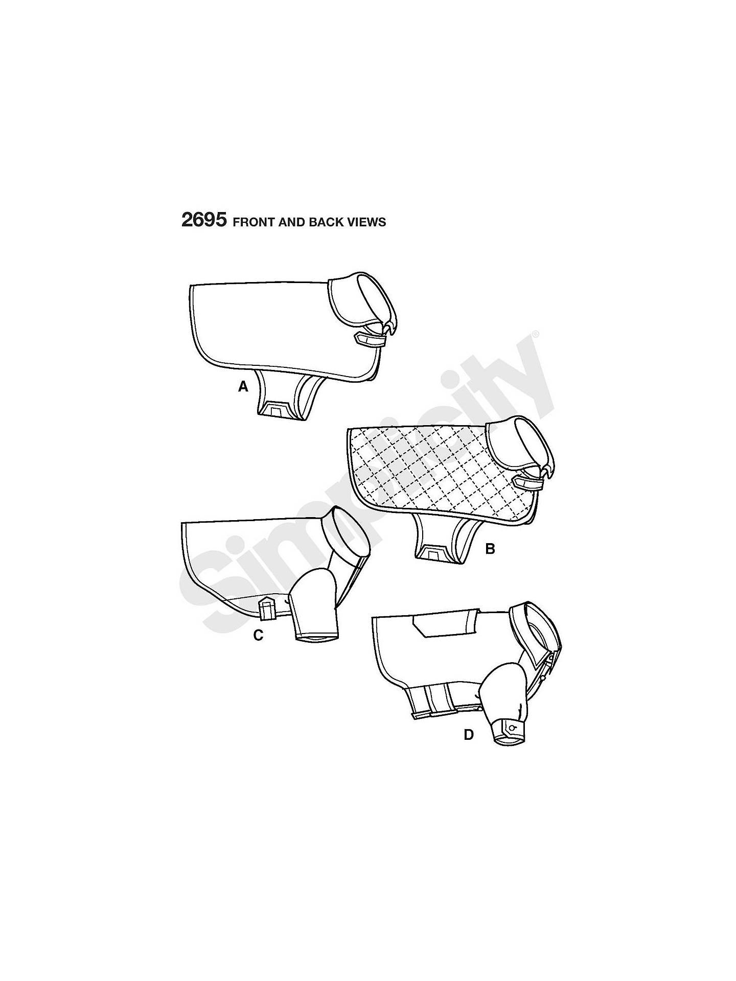 Simplicity Dog\'s Coat Sewing Pattern, 2695 at John Lewis & Partners