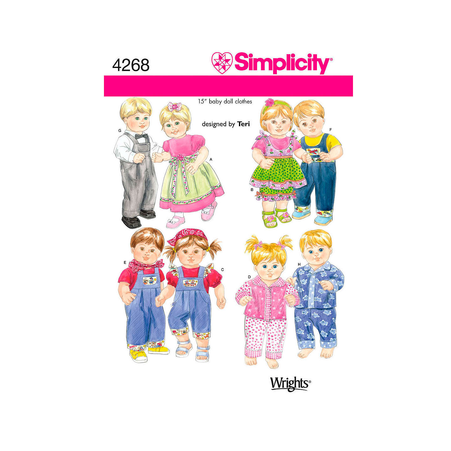 Simplicity Doll Clothes Sewing Pattern 4268 at John Lewis