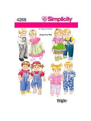 Simplicity Doll Clothes Sewing Pattern, 4268