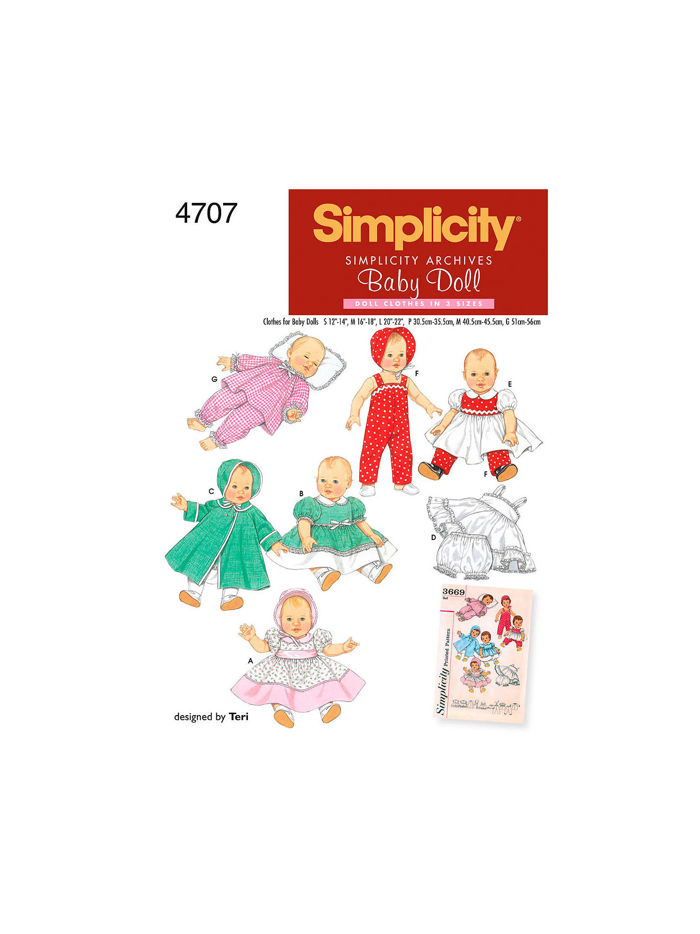Simplicity Craft Sewing Pattern, 4707, A at John Lewis & Partners
