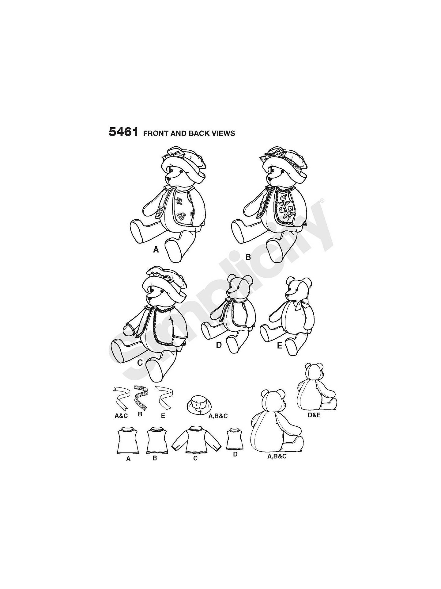 Classic 18 and 22 Inch Stuffed Bears with Clothes Simplicity 5461 Sewing Pattern