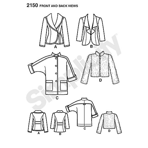 Buy Simplicity Sew Stylish Jackets Sewing Leaflet, 2150 Online at johnlewis.com