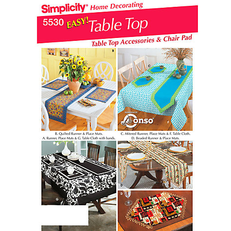 Buy Simplicity Table Top Accessories Sewing Pattern, 5530 Online at johnlewis.com