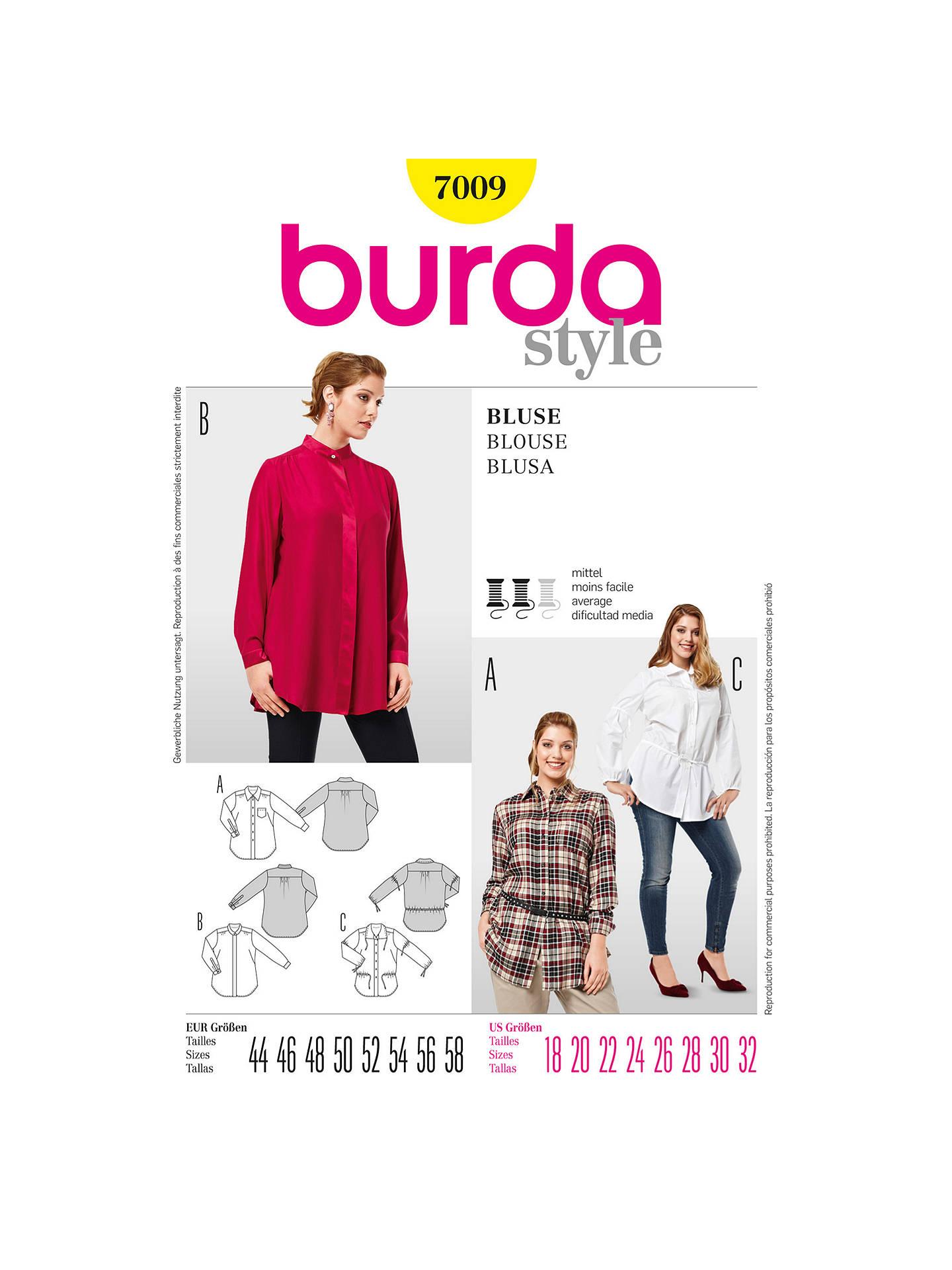 Burda Women\'s Plus Size Blouse & Shirt Sewing Pattern, 7009 at John ...