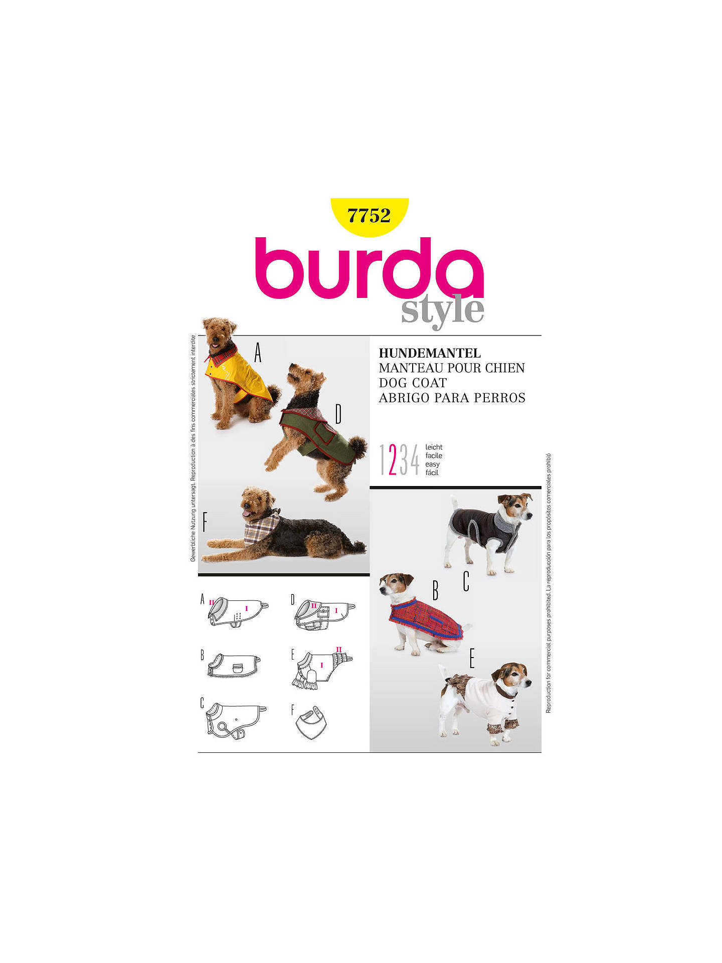 Burda Dog Coat Sewing Pattern 7752 At John Lewis Partners