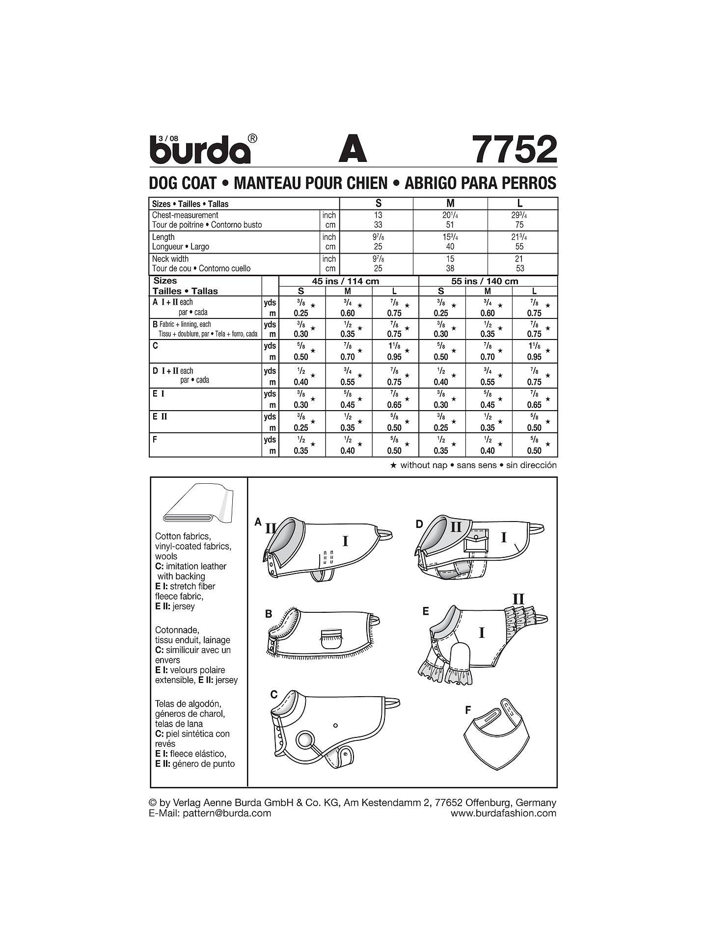 Burda Dog Coat Sewing Pattern, 7752 at John Lewis & Partners