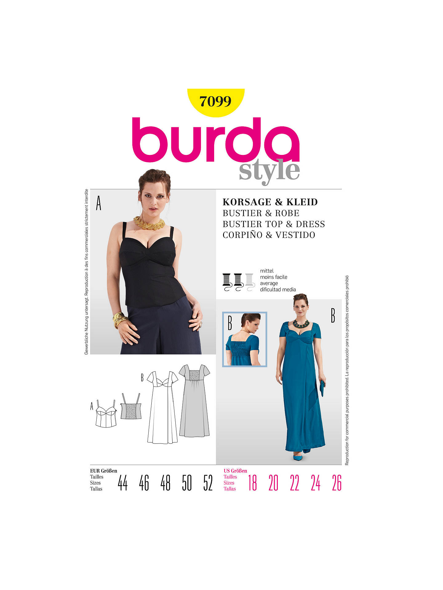 size 40 f30ca 6ecd2 Burda Women's Plus Sizes Bustier & Dress Sewing Pattern ...