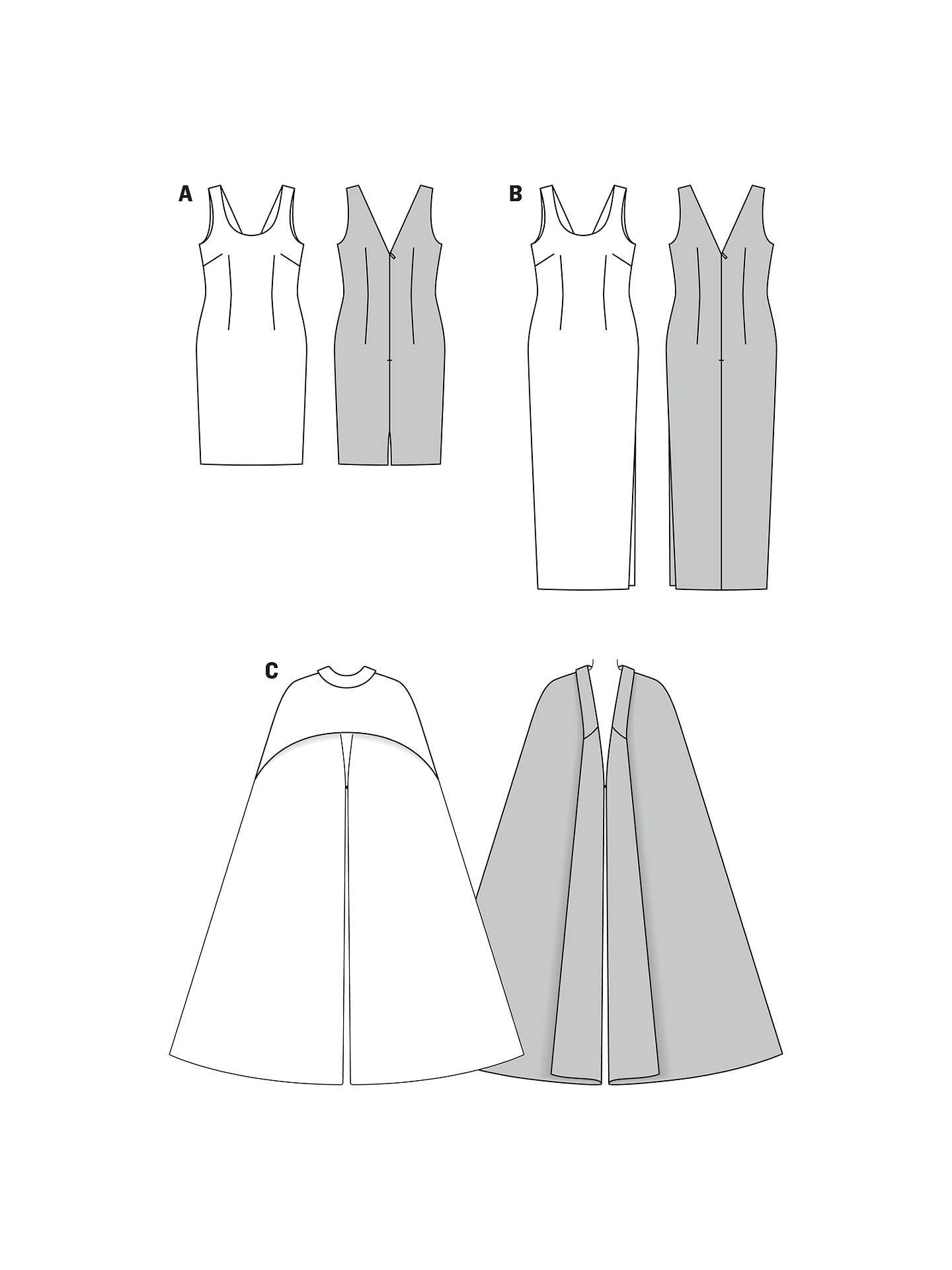 Burda Women\'s Evening Gown & Cape Sewing Pattern, 7093 at John Lewis ...