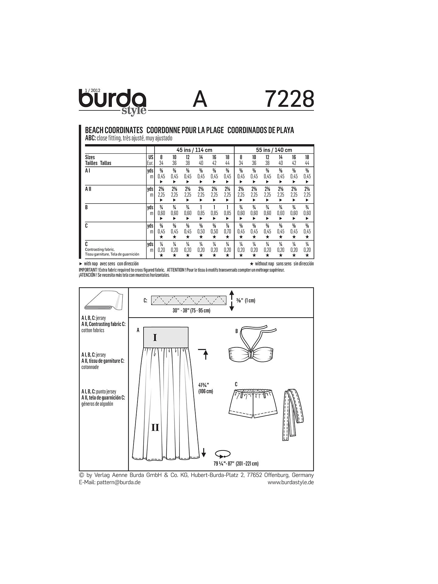 Burda Women\'s\' Bikini & Beachwear Sewing Pattern, 7228 at John Lewis ...