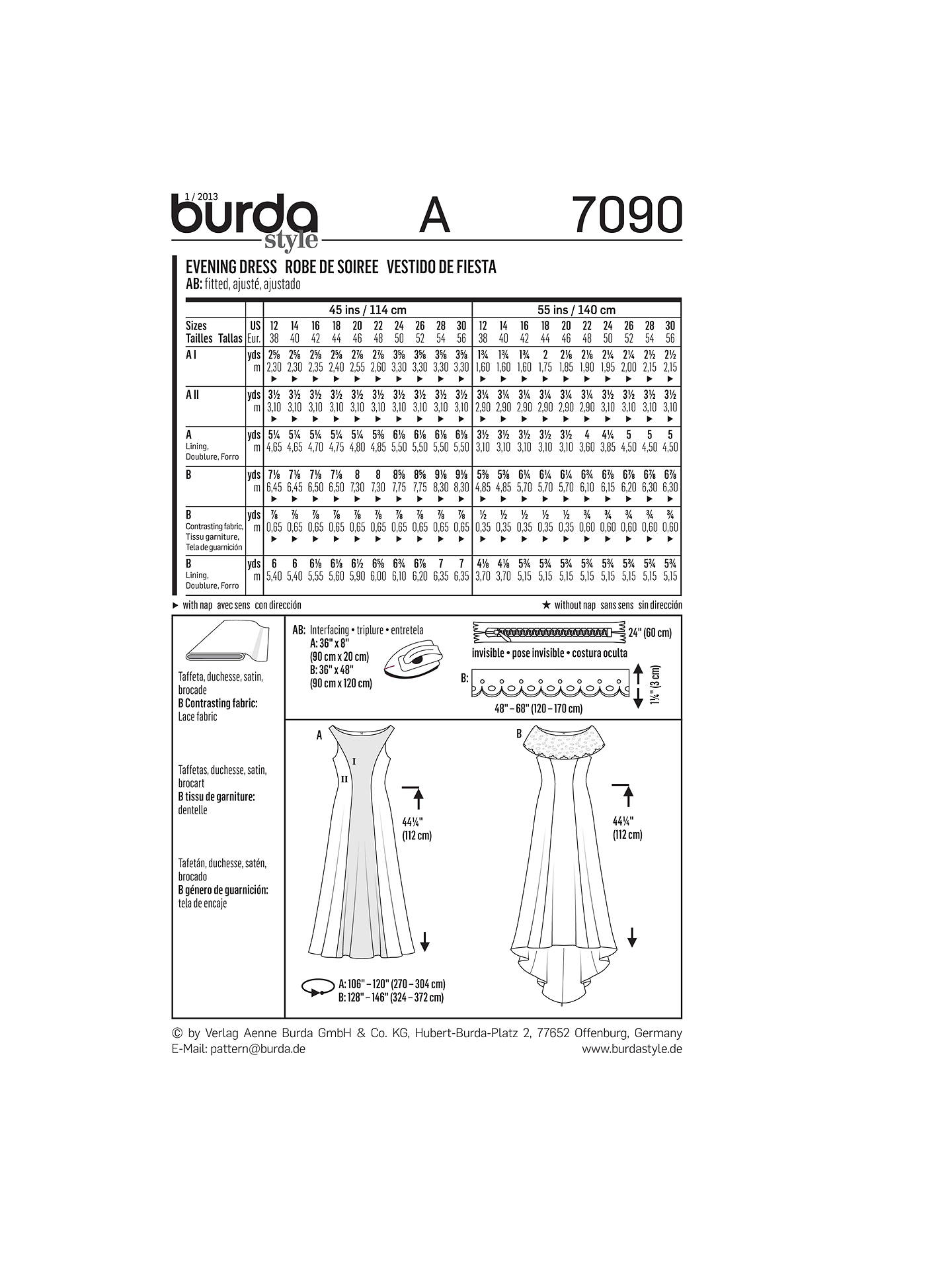 Burda Women\'s Special Occasion Evening & Wedding Gown Sewing Pattern ...