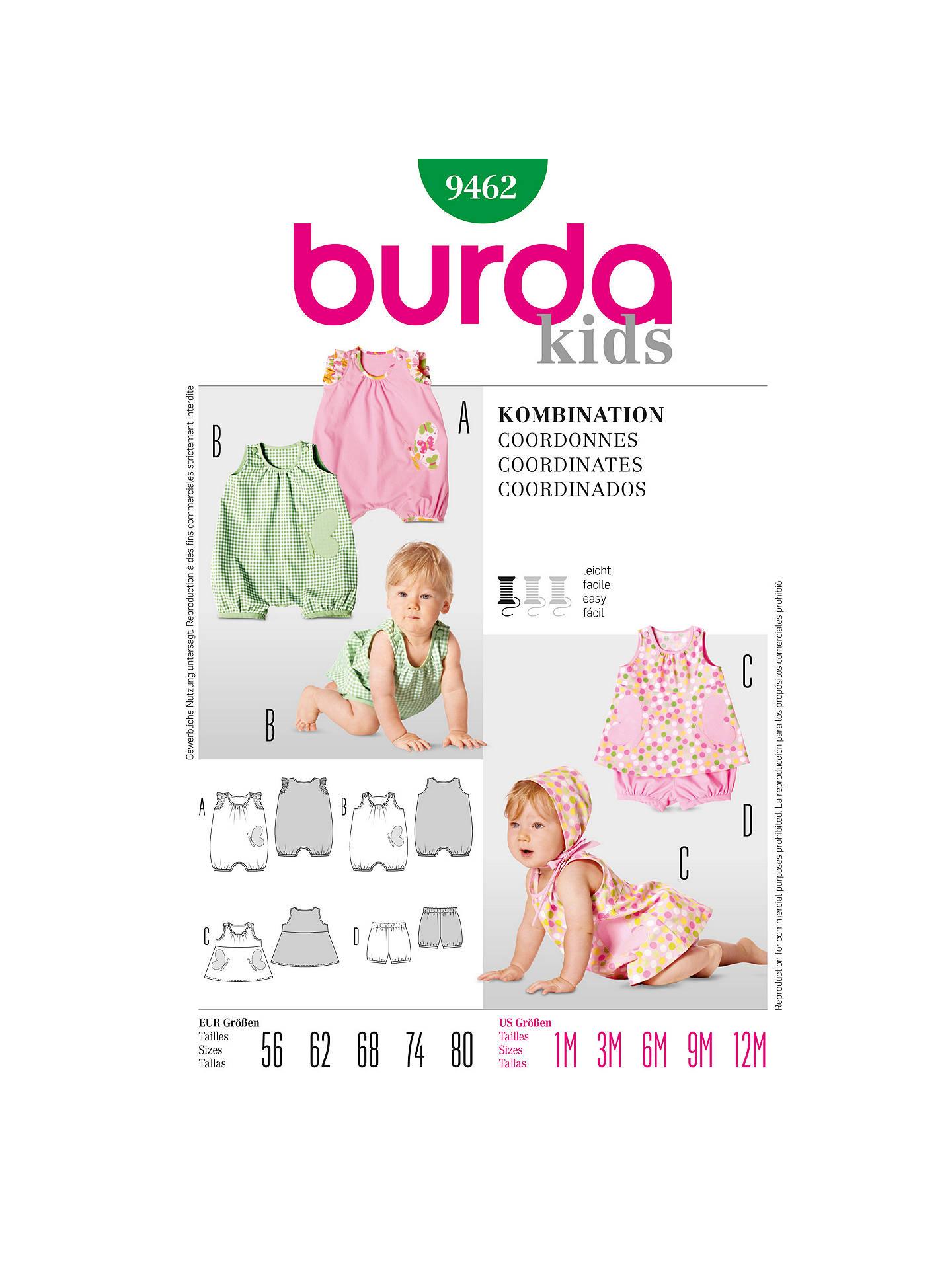 Burda Baby Onesie Sewing Pattern, 9462 at John Lewis & Partners