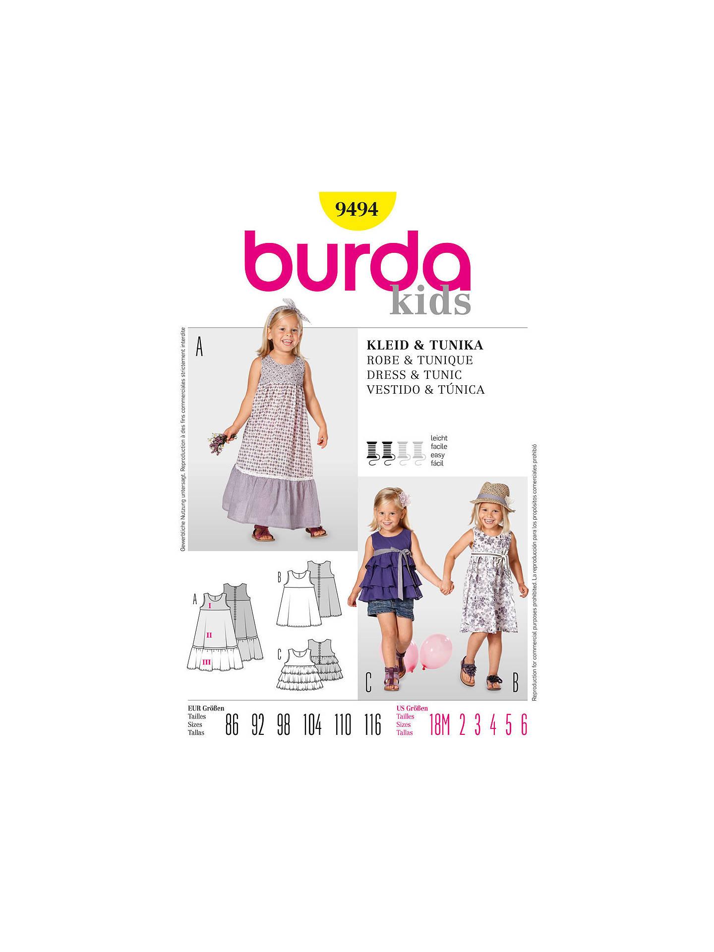 burda girl's dress and tunic sewing pattern, 9494 at john
