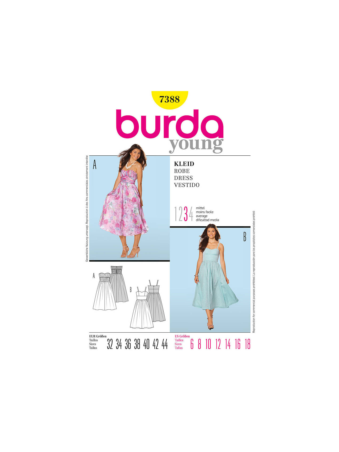 Burda Young Women\'s Dress Sewing Pattern, 7388 at John Lewis & Partners