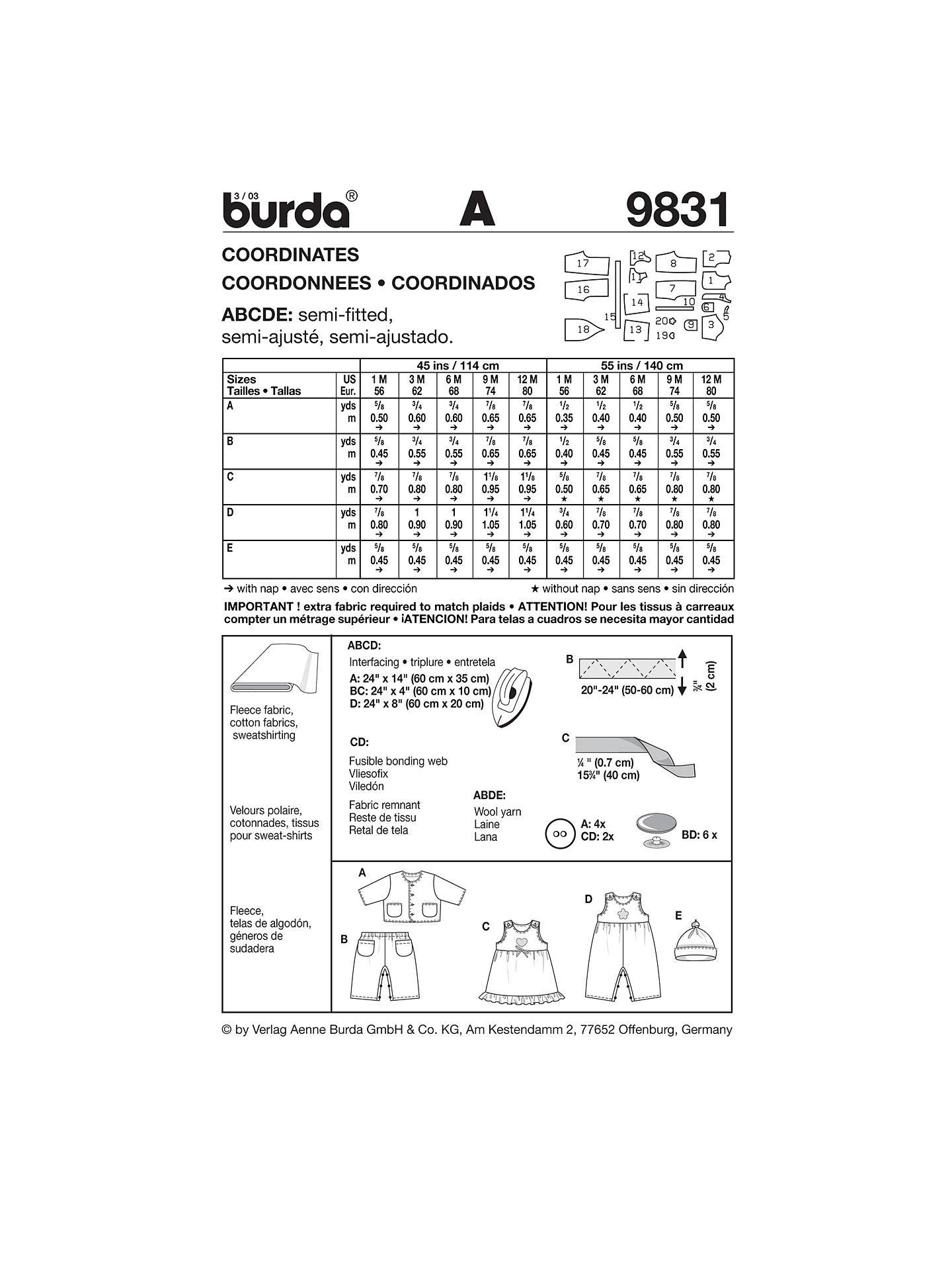 Burda Baby Coordinates Sewing Pattern, 9831 at John Lewis
