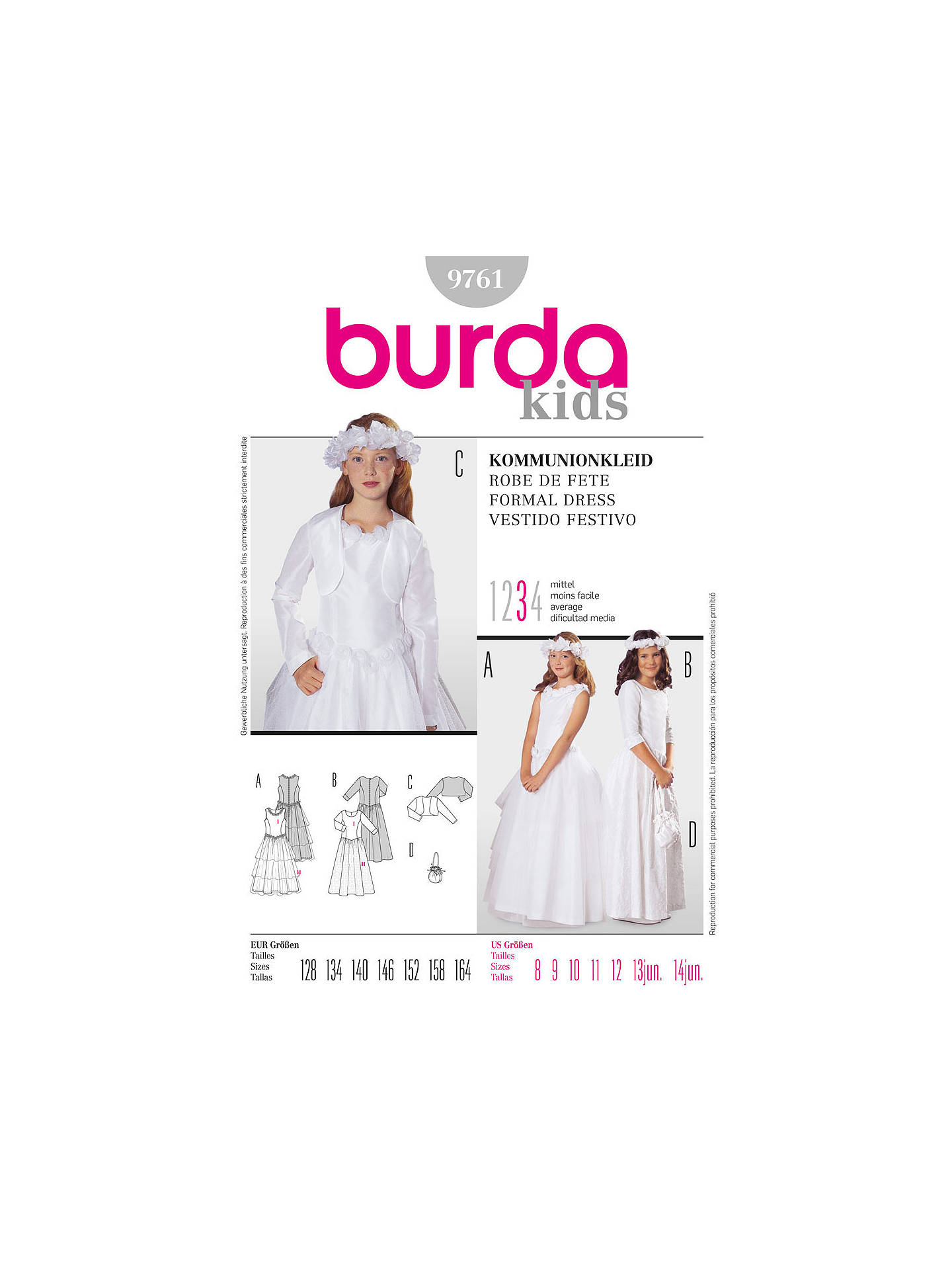 Burda Children S Formal Dress Sewing Pattern 9761 At John Lewis Partners