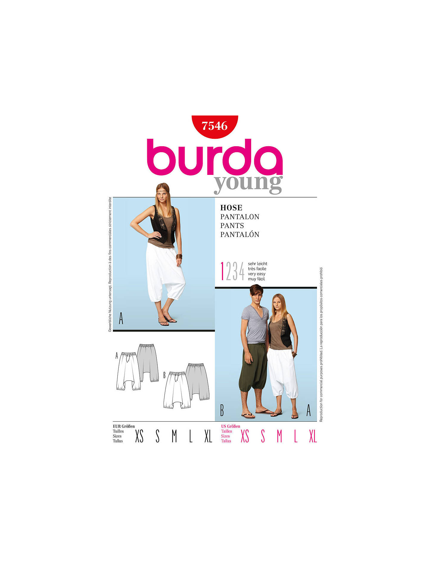 Burda Unisex Harem Trousers Sewing Pattern, 7546 at John Lewis ...