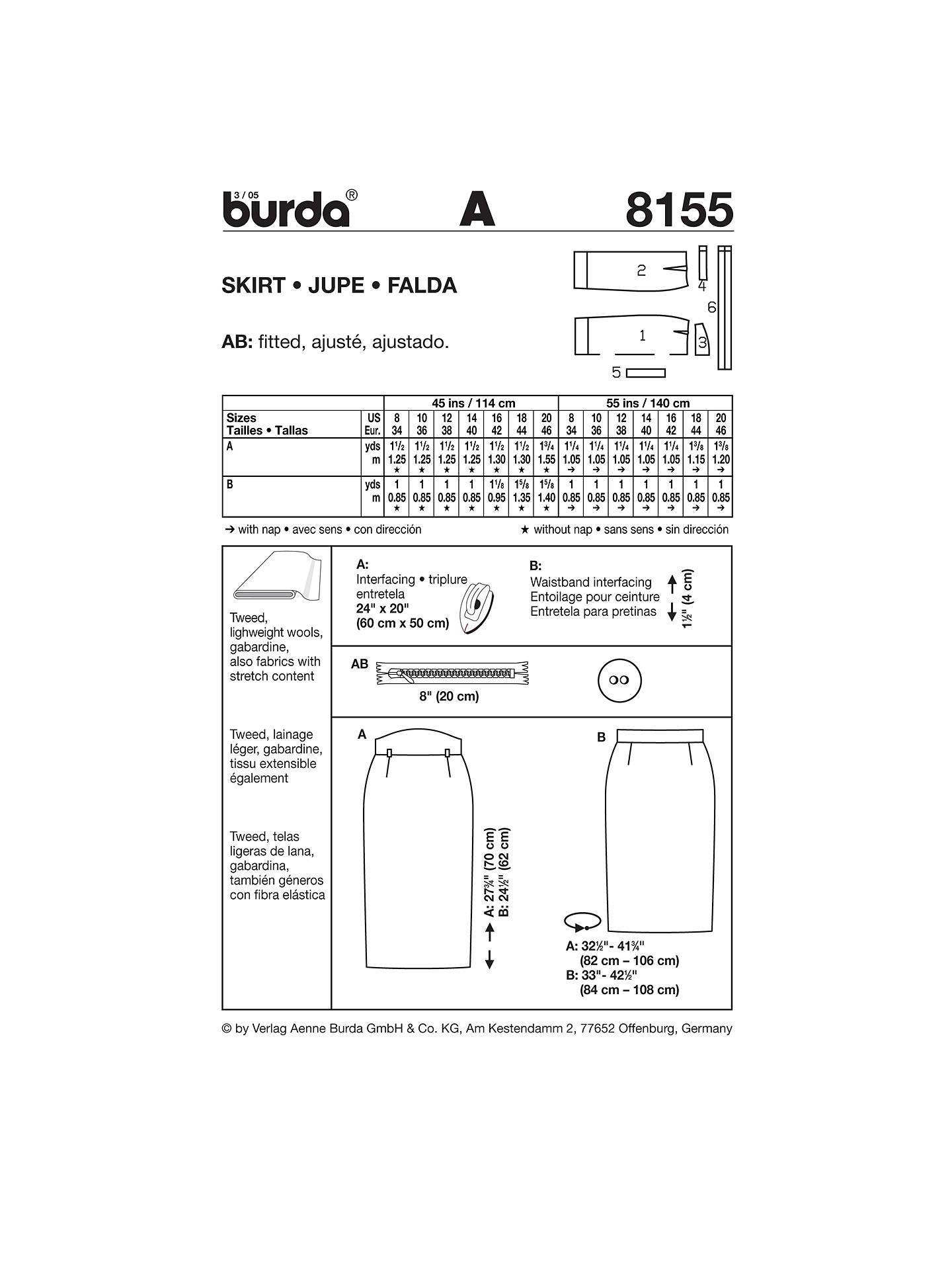 Burda Women's Pencil Skirt Sewing Pattern, 8155 at John