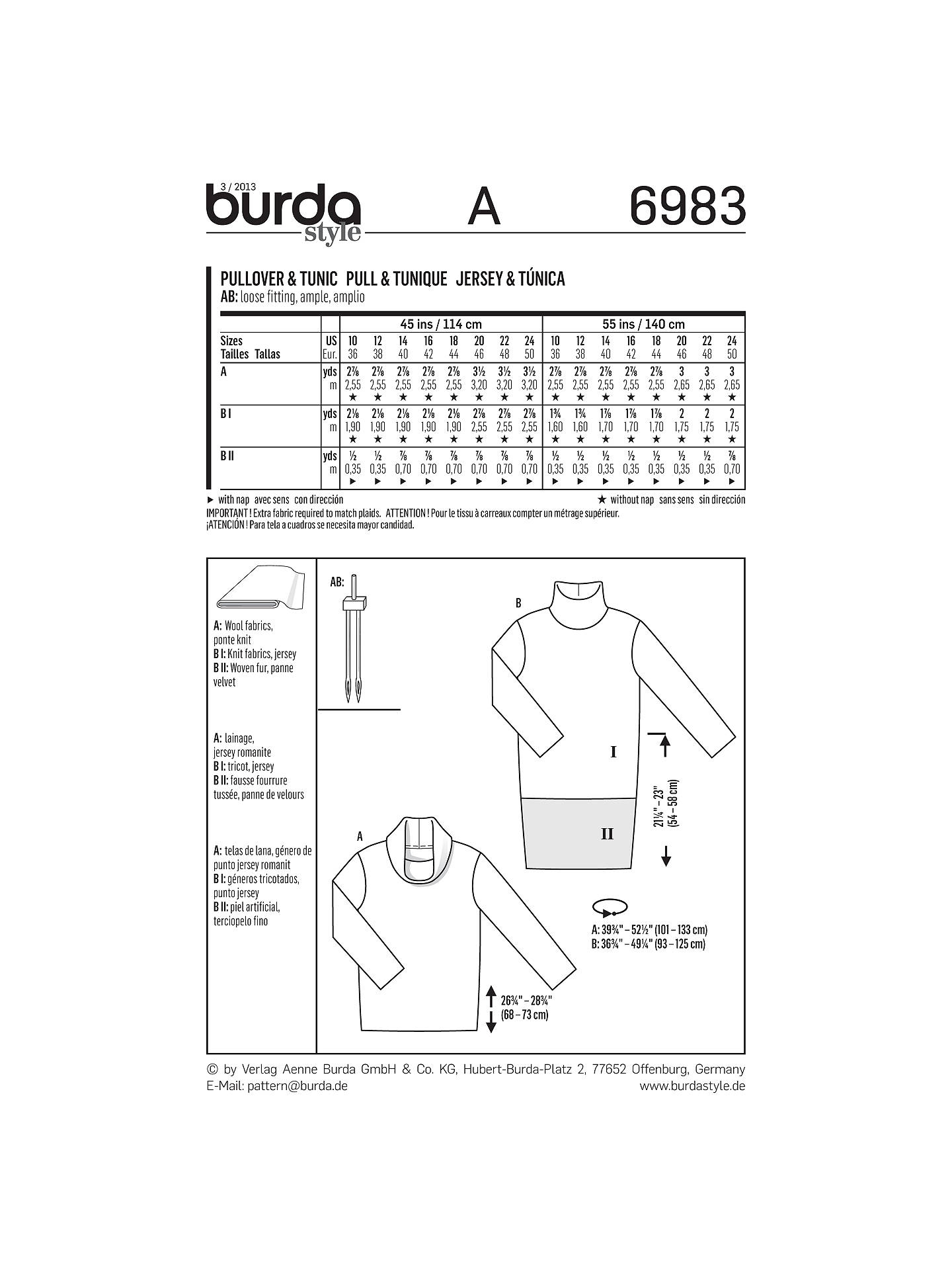 Burda Women\'s Jumper and Tunic Sewing Pattern, 6983 at John Lewis ...
