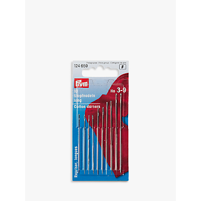 Prym Assorted Long Cotton Darning Needles, Sizes 3-9, Pack of 10