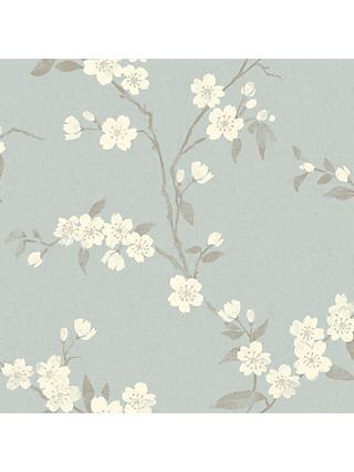 John Lewis & Partners Cherry Blossom Wallpaper, Eau De Nil