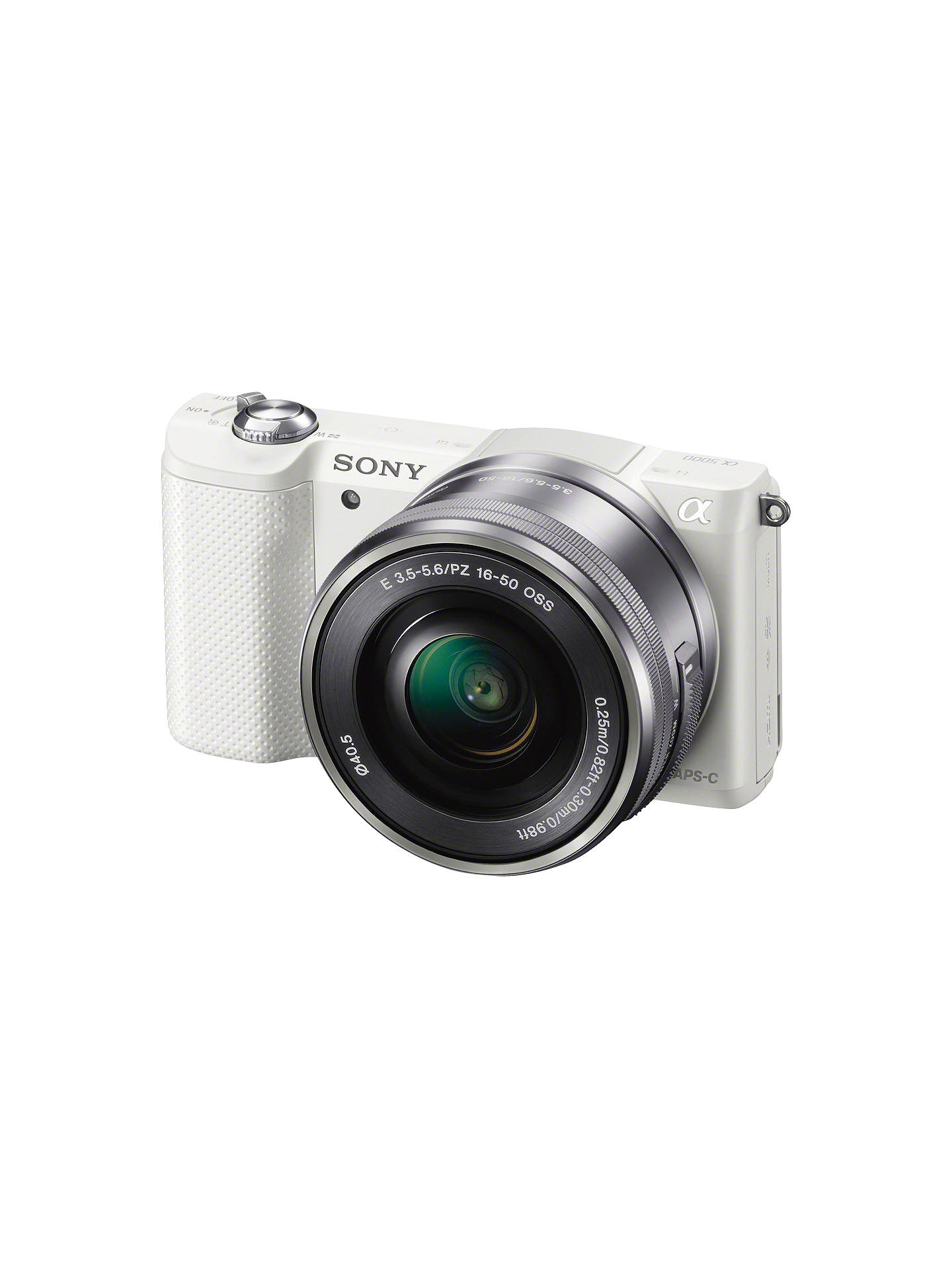 "Buy Sony A5000 Compact System Camera with 16-50mm Lens, HD 1080p, 20.1MP, Wi-Fi, 3"" Tilting LCD Screen, White Online at johnlewis.com"