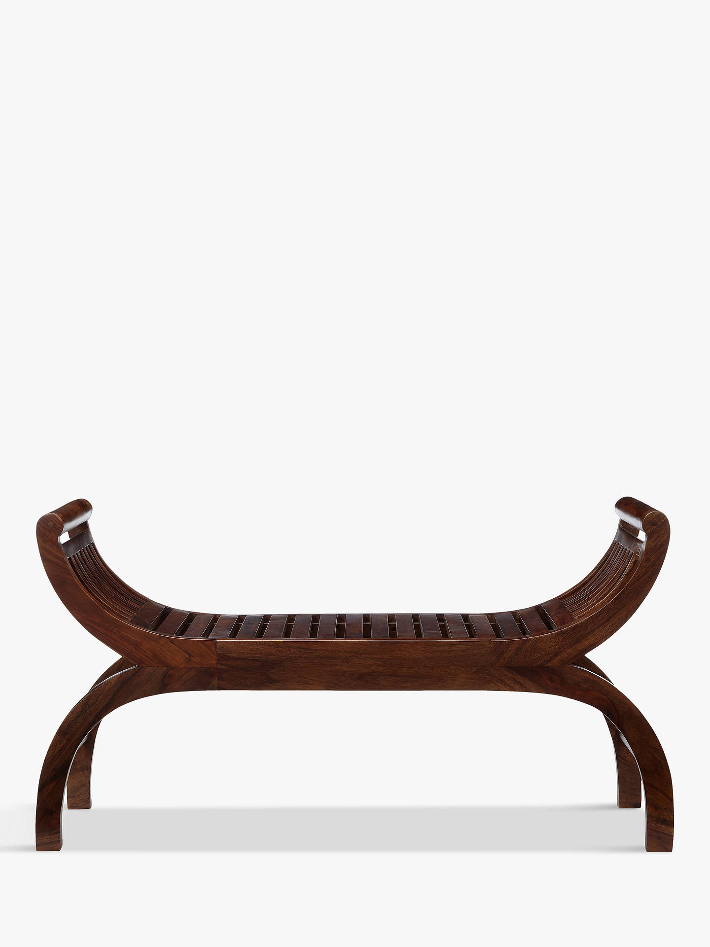 BuyJohn Lewis & Partners Maharani Curved 3-Seater Dining Bench, Dark Stain Online at johnlewis.com