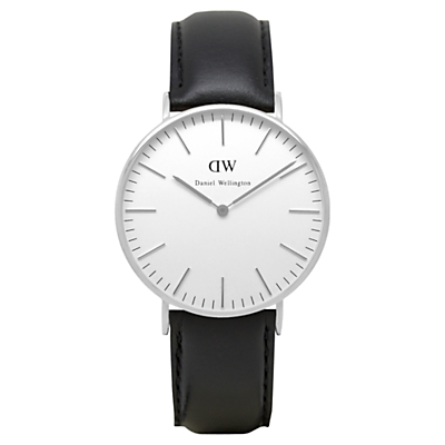 Daniel Wellington 0608DW Women's Vintage Leather Strap Watch, Black/White