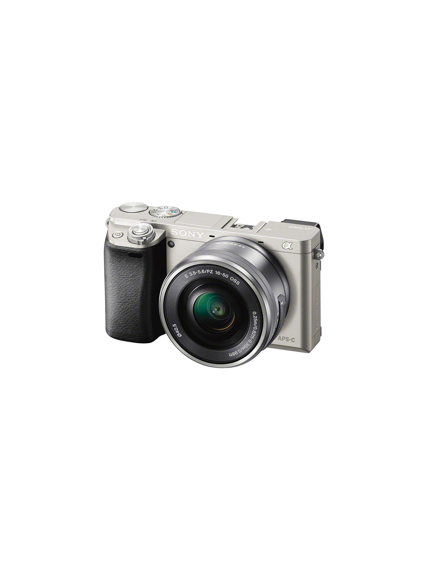 "BuySony A6000 Compact System Camera with 16-50mm OSS Lens, HD 1080p, 24.3MP, Wi-Fi, NFC, OLED EVF, 3"" Tilting Screen, Silver Online at johnlewis.com"