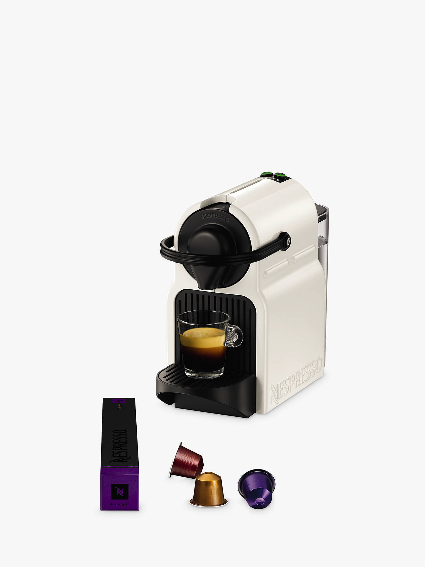 nespresso inissia coffee machine by krups white at john. Black Bedroom Furniture Sets. Home Design Ideas