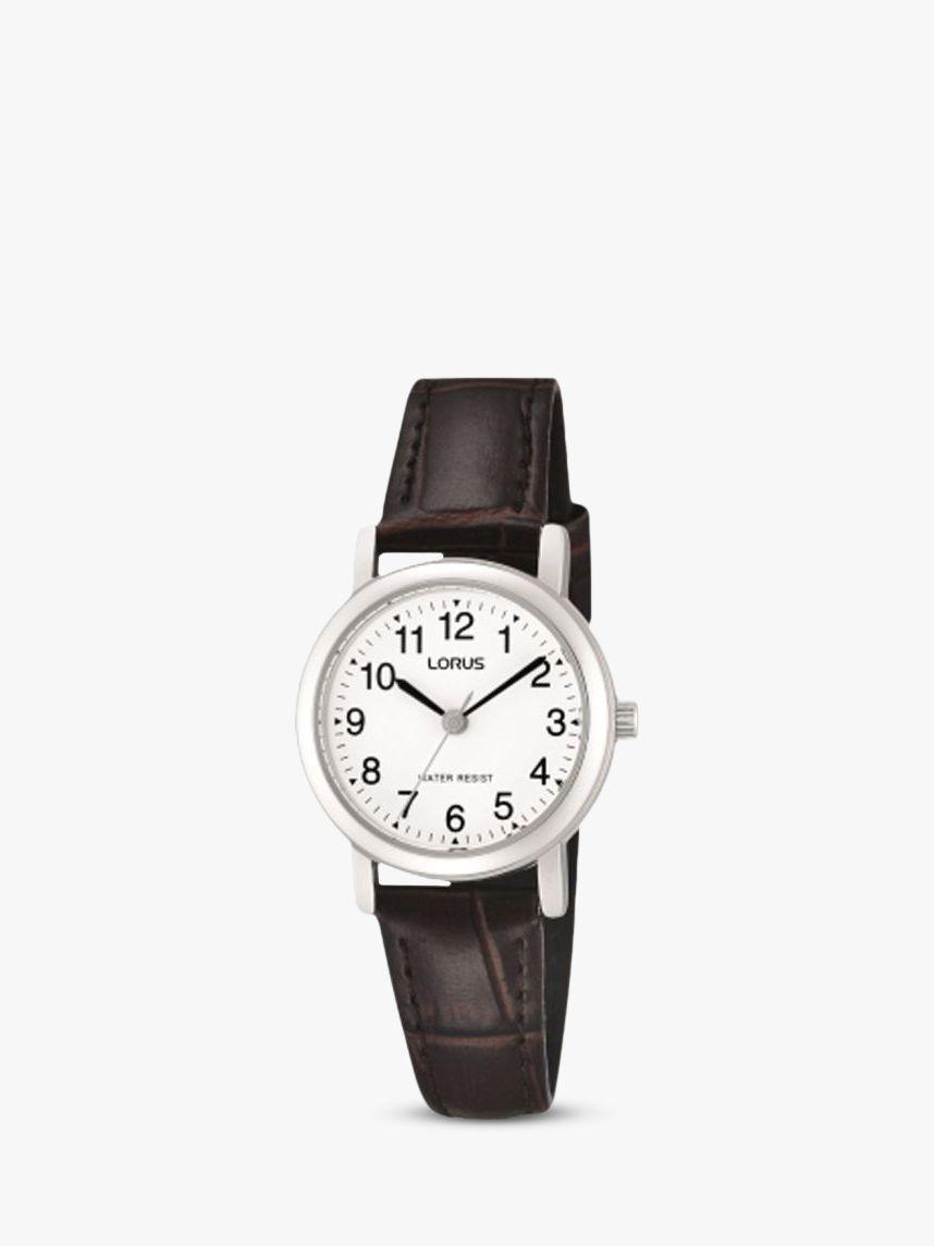 Lorus Lorus RRS57UX9 Women's Leather Strap Watch, Brown/White