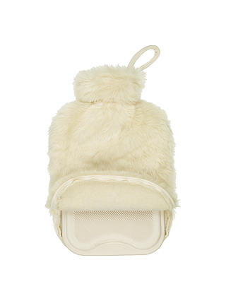 Buy John Lewis Faux Fur Hot Water Bottle and Cover, Cream Online at johnlewis.com