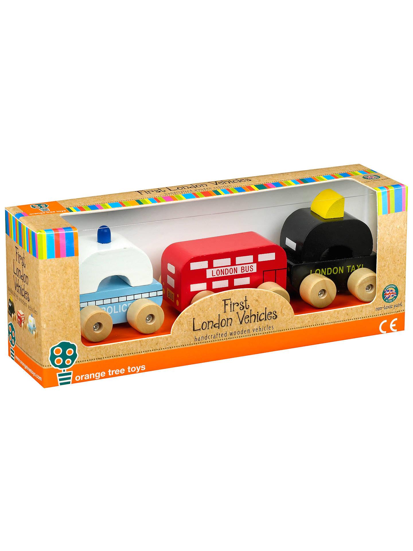 orange tree wooden london vehicles, pack of 3