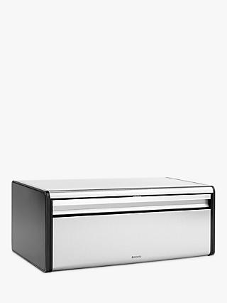 Brabantia Fall Front Bread Bin, Chromed Steel