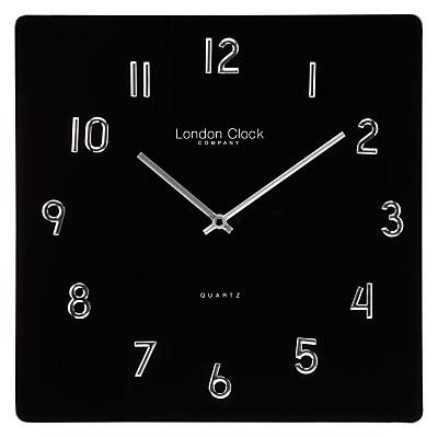 London Clock Company Square Glass Wall Clock, Black