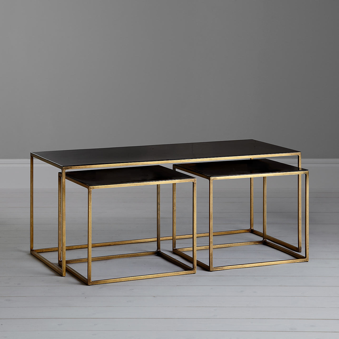 Folding side table john lewis -  Buy Content By Terence Conran Coffee Black Enamel Table And 2 Side Tables Online At Johnlewis