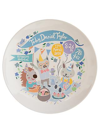 Ethel and Co Personalised Woodland Picnic Decorative Plate, Blue