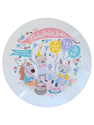 Ethel and Co Personalised Woodland Picnic Decorative Plate, Pink