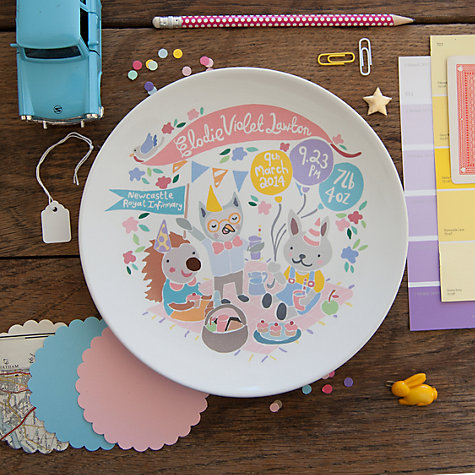 Buy Ethel and Co Personalised Woodland Picnic Decorative Plate, Pink Online at johnlewis.com