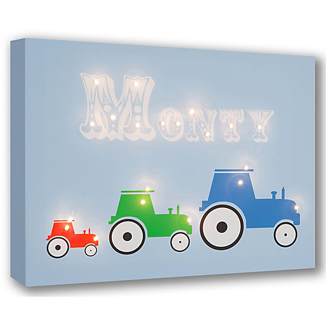 Buy Illuminated Canvas Personalised 3 Tractors LED Canvas, 40 x 60cm, Blue Online at johnlewis.com