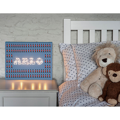 Buy Illuminated Canvas Personalised London Guard LED Canvas, 40 x 60cm, Blue Online at johnlewis.com