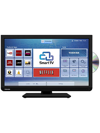 "Buy Toshiba 24D343 LED HD Ready Smart TV/DVD Combi, Wi-Fi, 24"" with Freeview, Black Online at johnlewis.com"