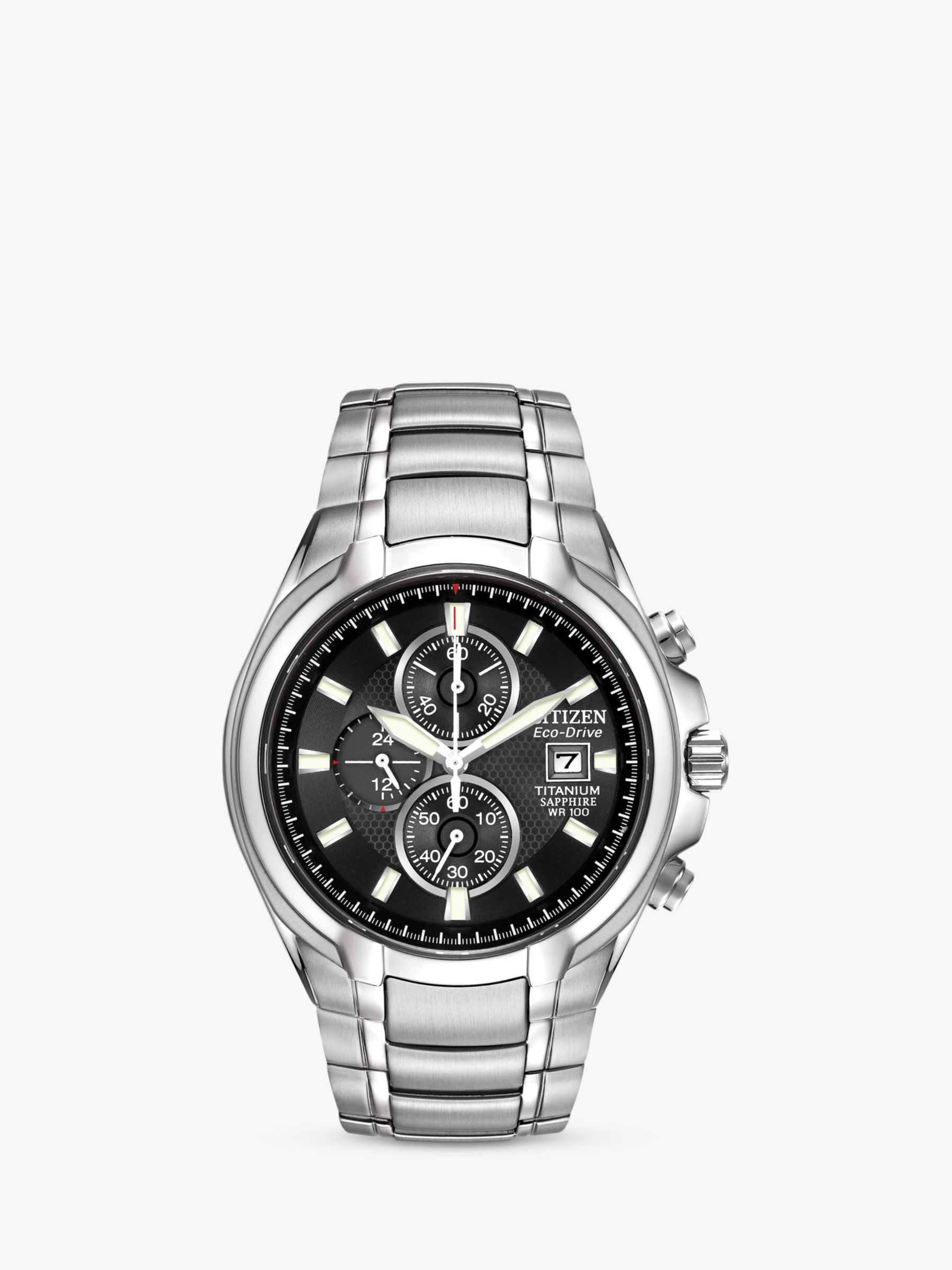 d4f662edc Citizen CA0260-52E Men's Eco-Drive Titanium Chronograph Bracelet Strap Watch,  Silver/Black at John Lewis & Partners