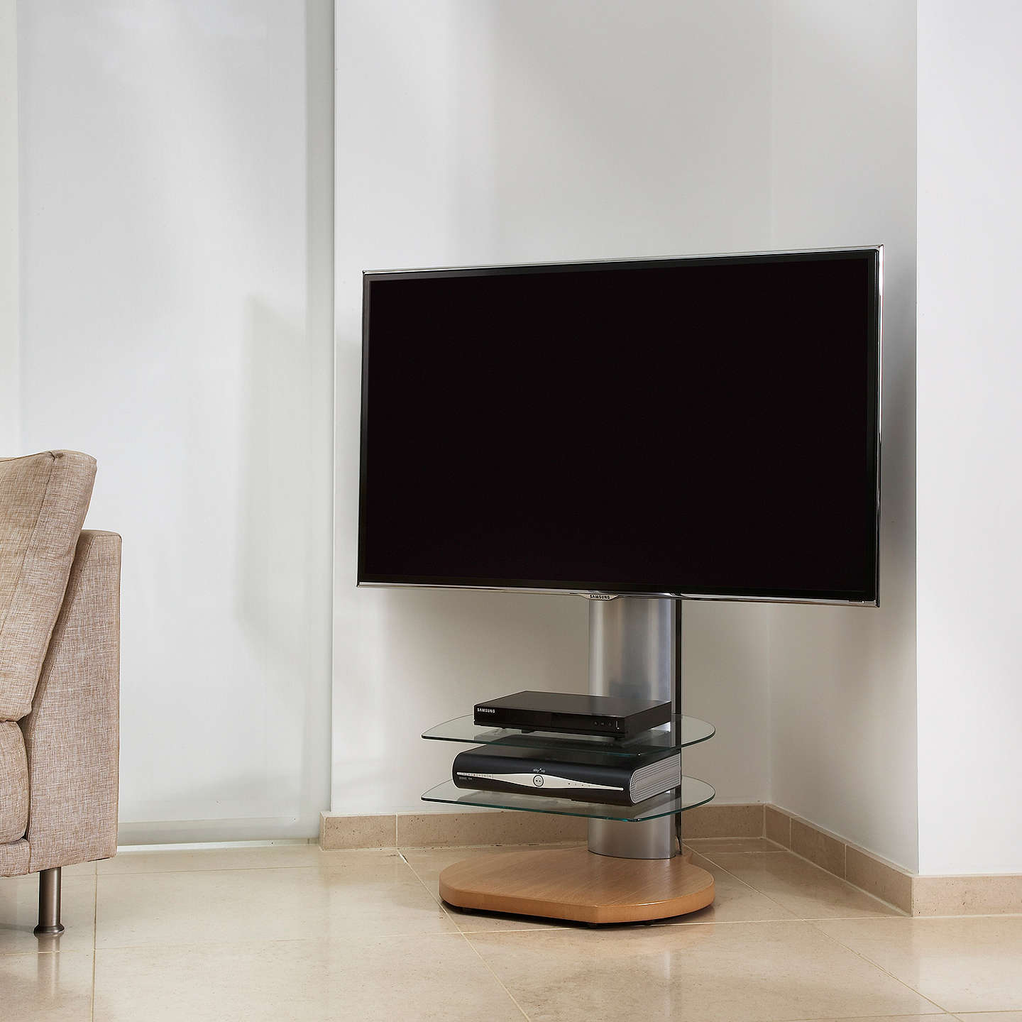 "BuyOff The Wall Origin II S4 Stand for TVs up to 55"" with Sound Bar Bracket, Oak Online at johnlewis.com"