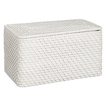 Buy John Lewis Croft Collection Rattan Lidded Storage Box, White Online at johnlewis.com