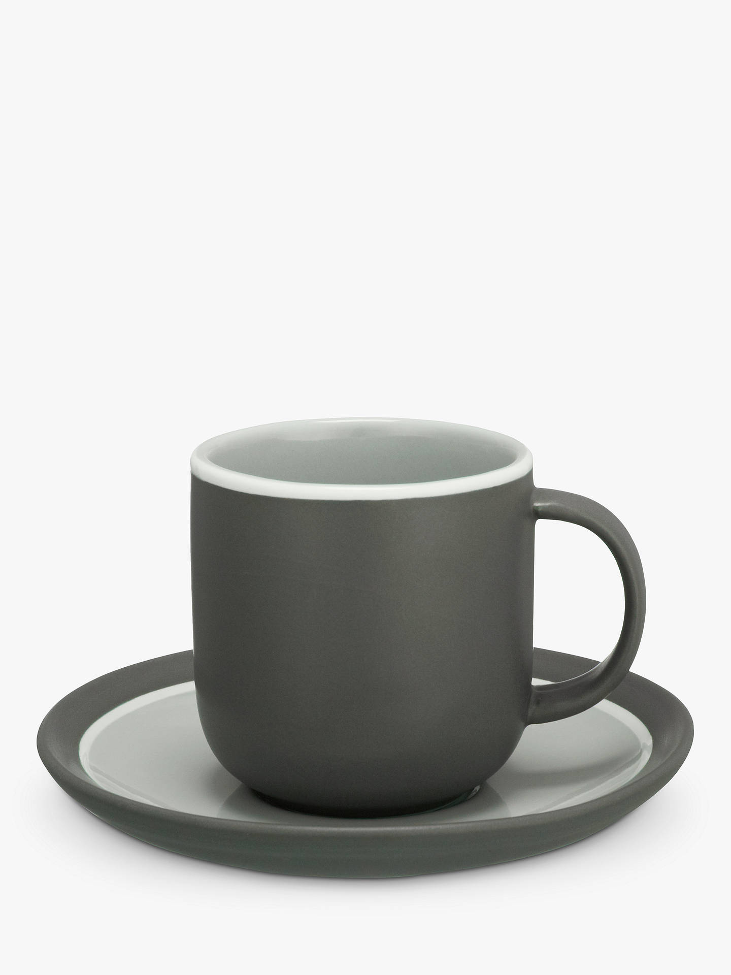 Buy John Lewis & Partners Puritan Curved Espresso Cup & Saucer, Grey Online at johnlewis.com