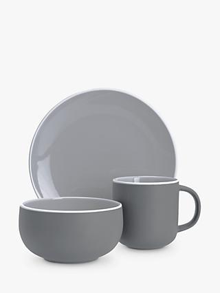 John Lewis & Partners Puritan Curved Espresso Cup & Saucer, Grey