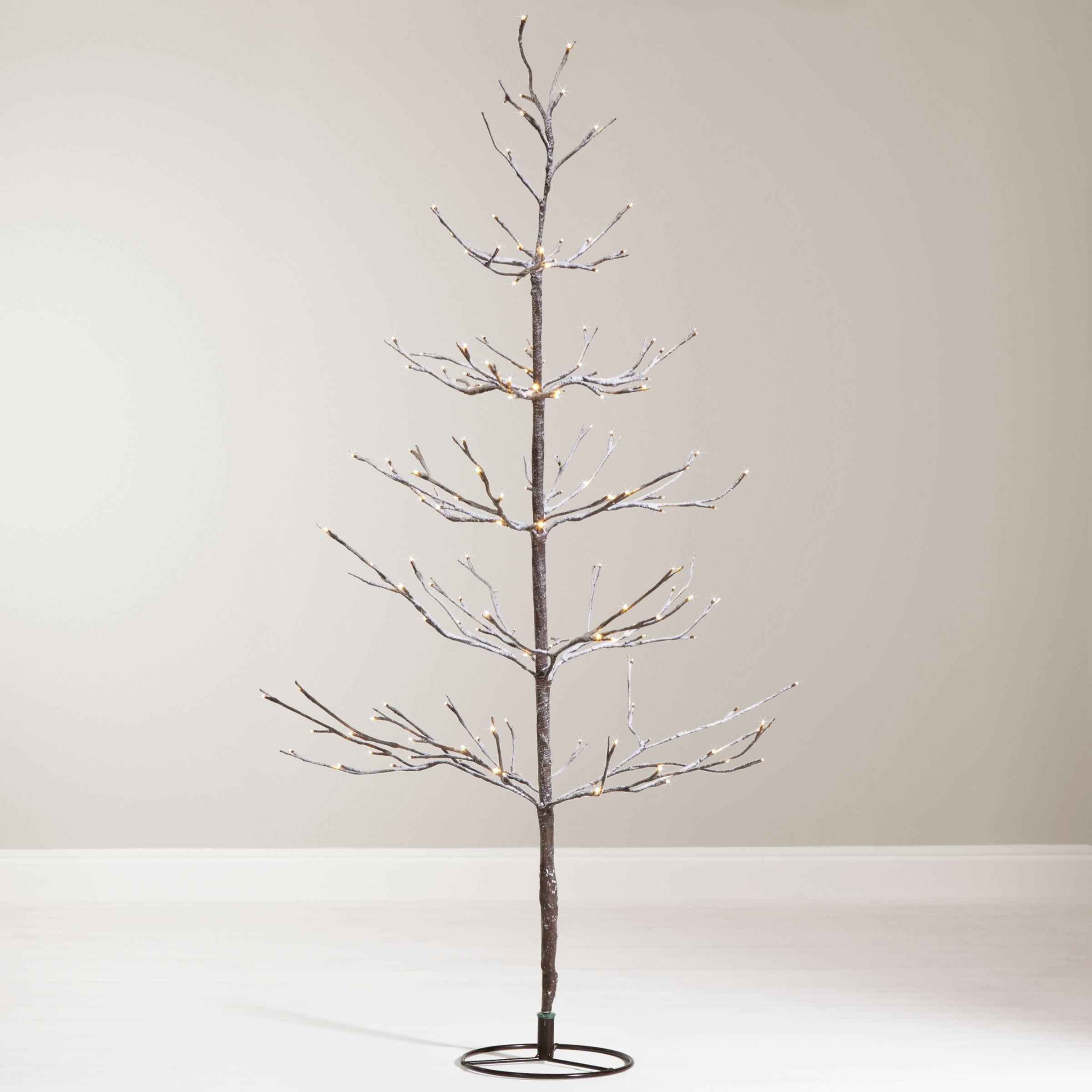 Christmas Branch Tree.John Lewis 4ft Pre Lit Snowy Twig Christmas Tree White At