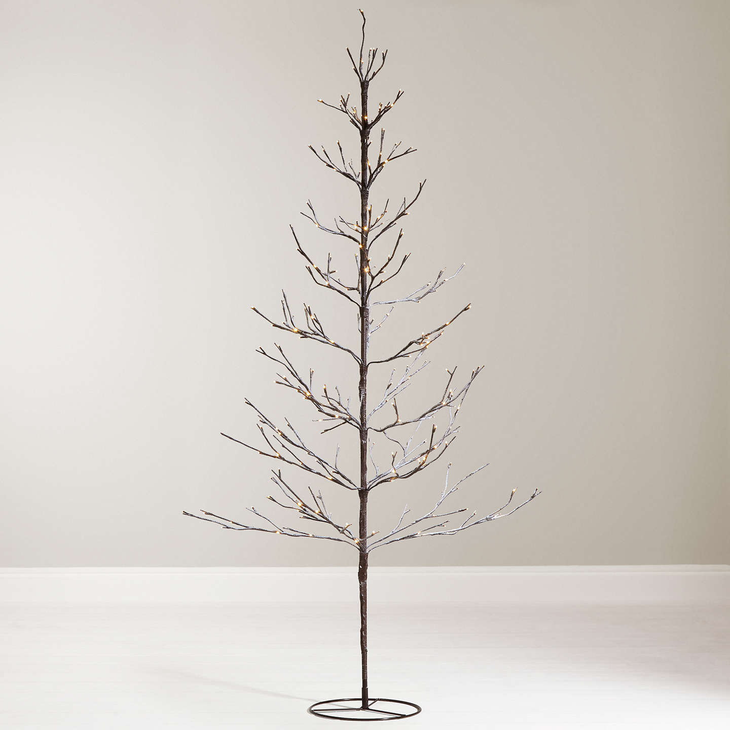 Pre Lit Christmas Twig Tree: John Lewis 6ft Pre-Lit Snowy Twig Christmas Tree, White At