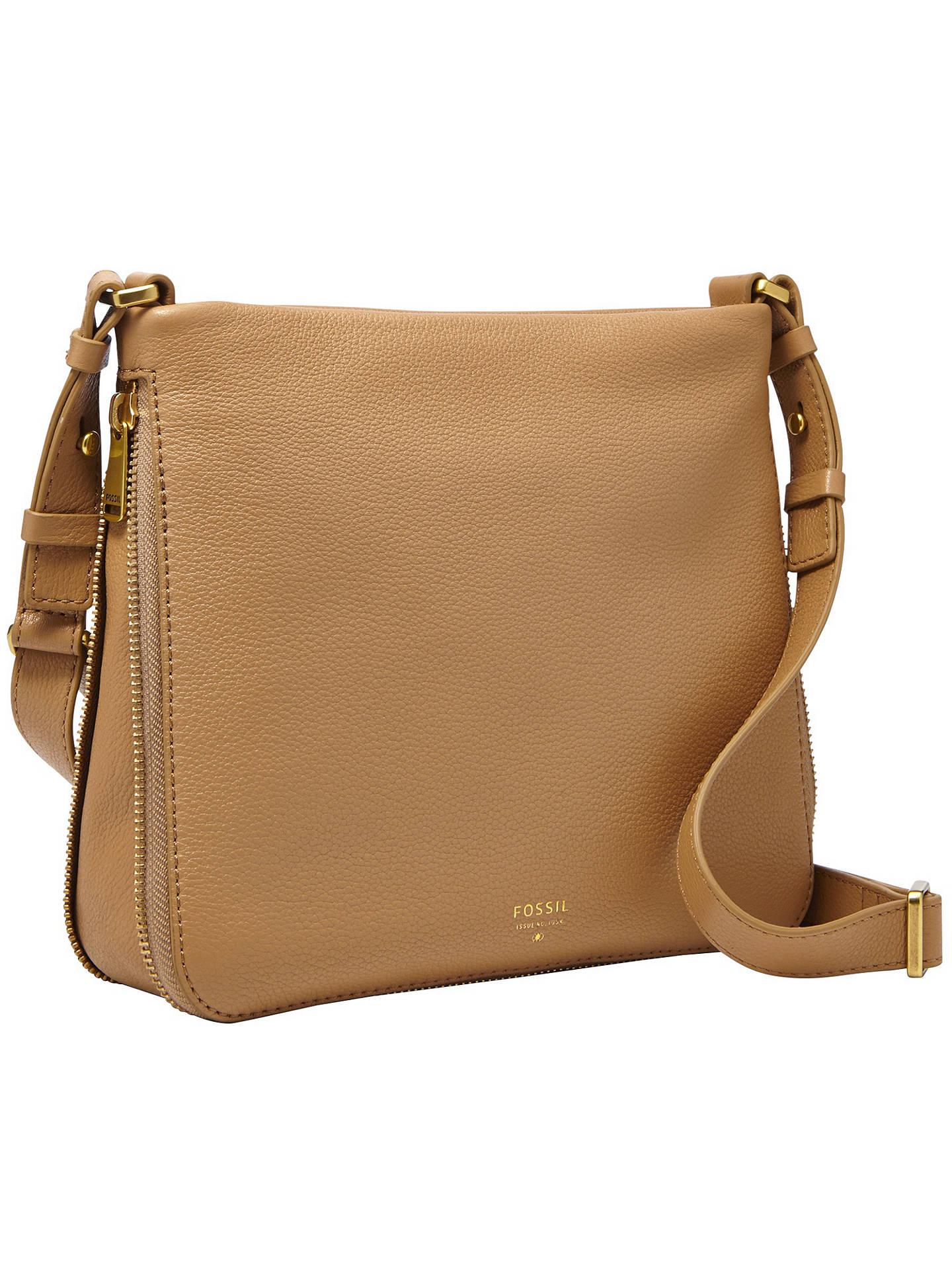 7bd1f939f ... Buy Fossil Preston Leather Satchel Bag, Beige Online at johnlewis.com  ...