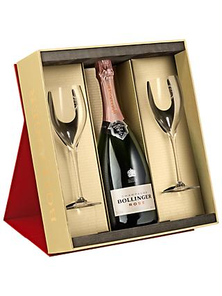 Bollinger Rosé Champagne and 2 Flutes Set, 75cl